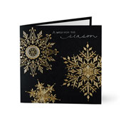 Silver and Gold Foil Snowflakes Holiday Cards for Business
